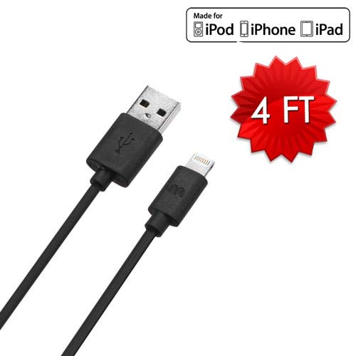 Lightning to USB Cable - 4 Feet - Black for Apple iPhone 8