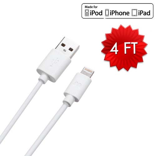 Lightning to USB Cable - 4 Feet - White for Apple iPhone 8