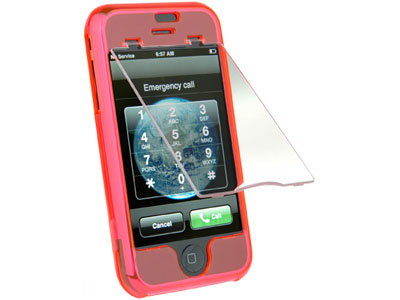 Snap On Faceplate Case w/ Screen Cover for Apple iPhone (Hot Pink)
