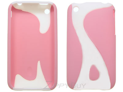 Apple iPhone 3G Rubberized Hard Cover Case - Pink Swirl