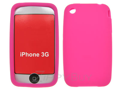 Apple iPhone 3G Silicone Skin Cover Case - Hot Pink