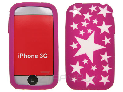 Apple iPhone 3G Silicone Skin Cover Case - Hot Pink w/ Stars