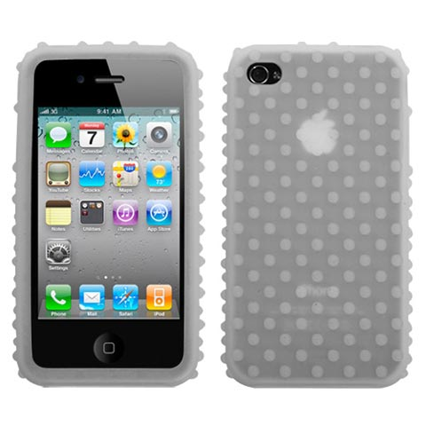 Bumpy Frost White Silicone Skin Cover for Apple iPhone 4
