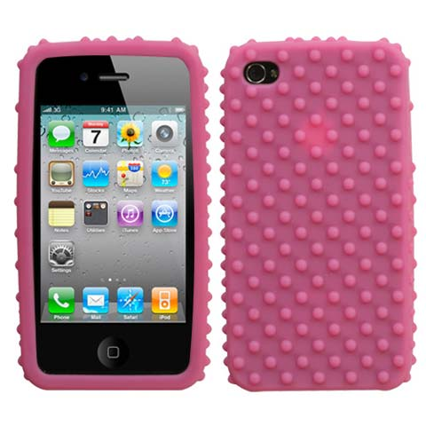 Bumpy Pink Silicone Skin Cover for Apple iPhone 4
