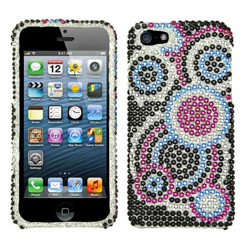 Blue Circles Crystal Rhinestones Bling Case for Apple iPhone 5