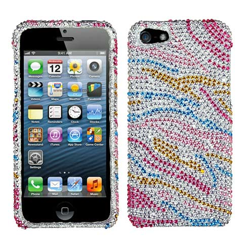 Colorful Zebra Crystal Rhinestones Bling Case for Apple iPhone 5