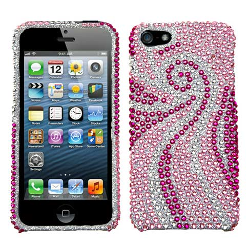 Pink Swirl Crystal Rhinestones Bling Case for Apple iPhone 5