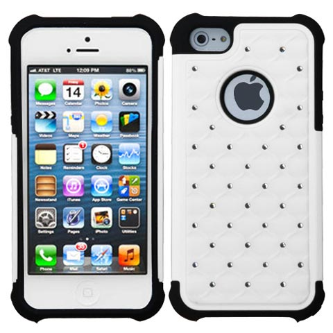 White Hybrid Dazzler Defense Case for Apple iPhone 5