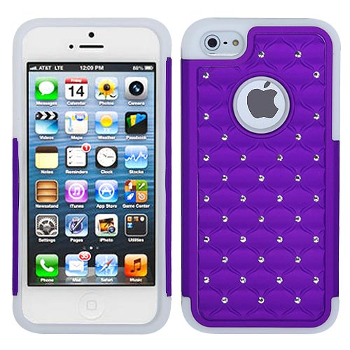 Purple Dazzler Defense Dual Layer Hybrid Case for Apple iPhone 5