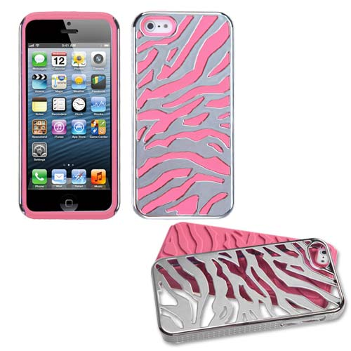 Silver on Pink Hybrid Zebra Case for Apple iPhone 5