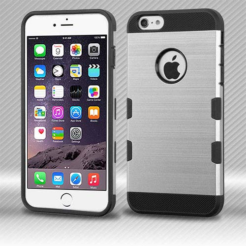 Silver Brushed Series Hybrid Case for Apple iPhone 6S Plus