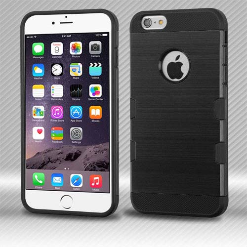 Black Brushed Series Hybrid Case for Apple iPhone 6S Plus