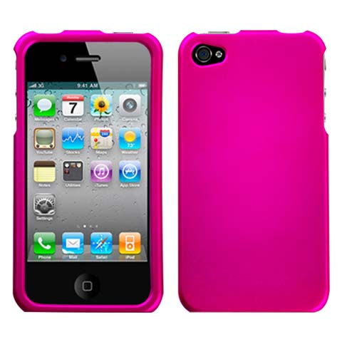 Hot Pink Rubberized Hard Case for Apple iPhone 4S
