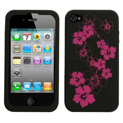 Hot Pink Flowers Silicone Skin Cover for Apple iPhone 4S