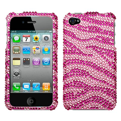 Pink Zebra Crystal Rhinestones Bling Case for Apple iPhone 4S