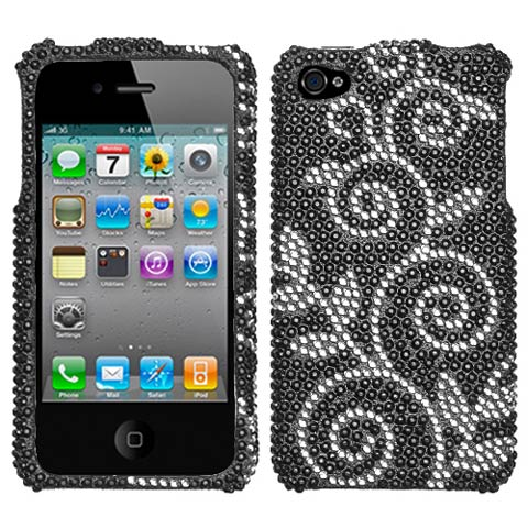 Black Vines Crystal Rhinestones Bling Case for Apple iPhone 4S