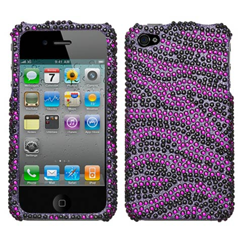 Purple Zebra Crystal Rhinestones Bling Case for Apple iPhone 4S