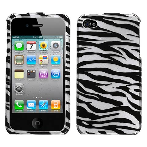 Silver Zebra Hard Case for Apple iPhone 4S