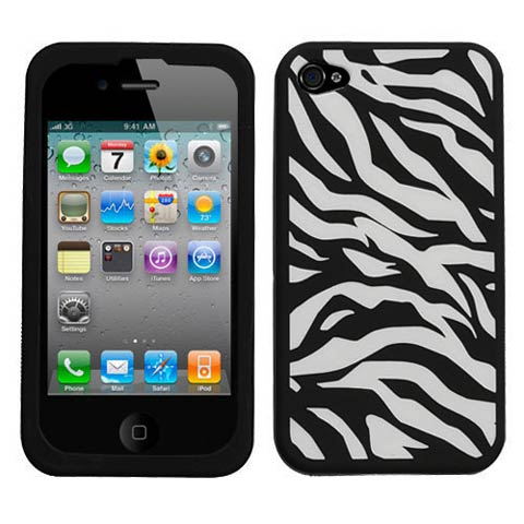 Zebra Silicone Skin Cover for Apple iPhone 4S