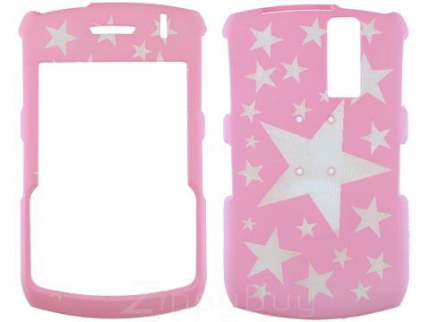 Blackberry Curve 8330 Rubberized Hard Cover Case - Pink W/ Stars