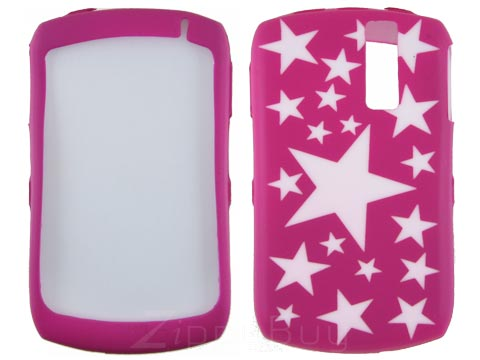 Blackberry Curve 8330 Silicone Skin Cover Case - Hot Pink With Stars
