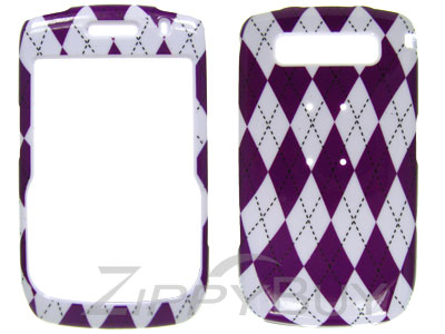 Blackberry Curve 8900 Hard Cover Case - Purple Argyle