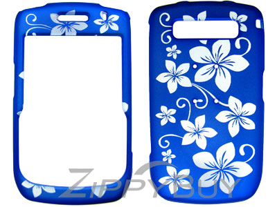 Blackberry Curve 8900 Rubberized Hard Cover Case - Blue w/ Flowers