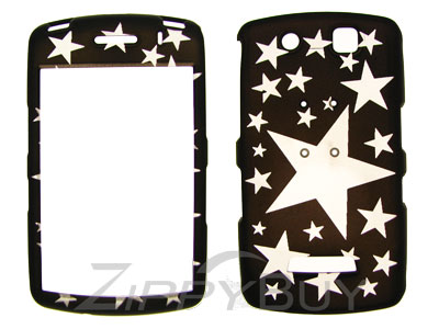 Blackberry Storm 9530 Rubberized Hard Cover Case - Black w/ Stars