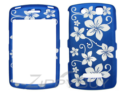 Blackberry Storm 9530 Rubberized Hard Cover Case - Blue w/ Flowers