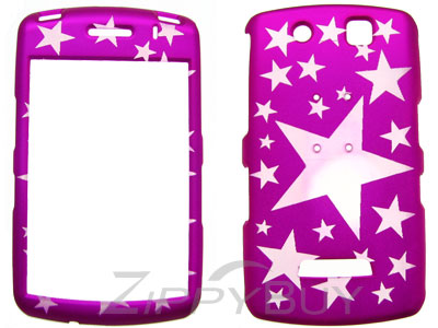 Blackberry Storm 9530 Rubberized Hard Cover Case - Hot Pink W/ Stars