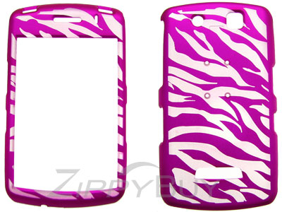 Blackberry Storm 9530 Rubberized Hard Cover Case - Hot Pink Zebra