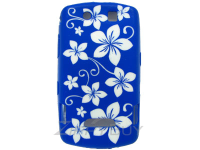 Blackberry Storm 9530 Silicone Skin Cover Case - Blue With Flowers