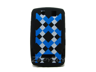 Blackberry Storm 9530 Silicone Skin Cover Case - Blue And White Squares