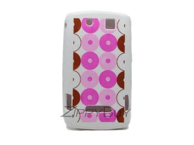 Blackberry Storm 9530 Silicone Skin Cover Case - White With Pink Circles