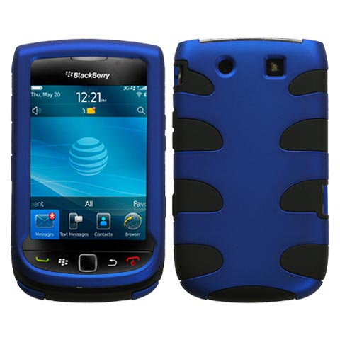 Blue on Black Hybrid Fishbone Case for Blackberry Torch