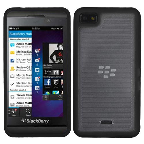 Black Ribbed Fusion Cover for Blackberry Z10
