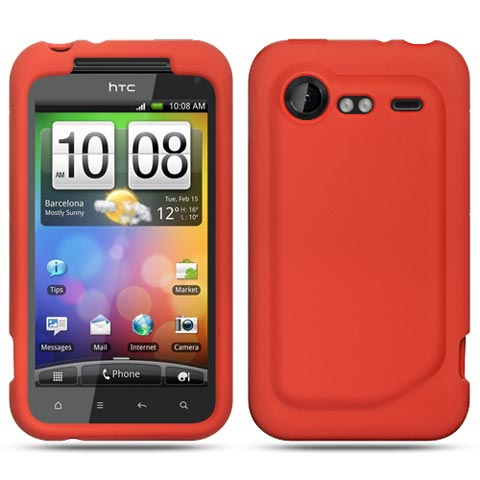 Red Silicone Skin Cover for HTC DROID Incredible 2