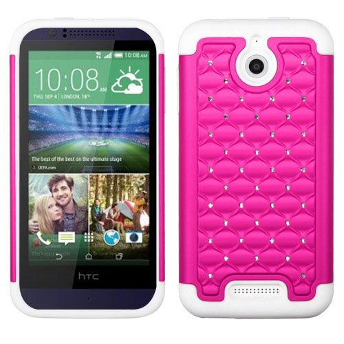 Pink Dazzler Defense Dual Layer Hybrid Case for HTC Desire 510