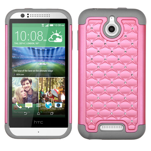 Pink on Gray Dazzler Defense Dual Layer Hybrid Case for HTC Desire 510