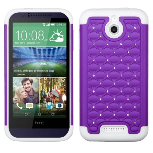 Purple Dazzler Defense Dual Layer Hybrid Case for HTC Desire 510