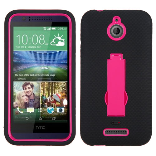 Black on Pink Symbiosis Dual Layer Hybrid Case for HTC Desire 510
