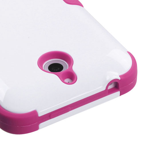 Pink and White Synergy Hybrid Case for HTC Desire 510