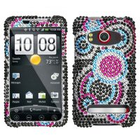 Blue Circles Crystal Rhinestones Bling Case for HTC EVO 4G
