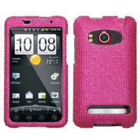Hot Pink Crystal Rhinestones Bling Case for HTC EVO 4G