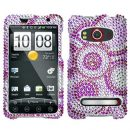 Purple Circles Crystal Rhinestones Bling Case for HTC EVO 4G