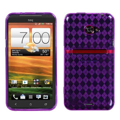 Purple Argyle TPU Case for HTC EVO 4G LTE