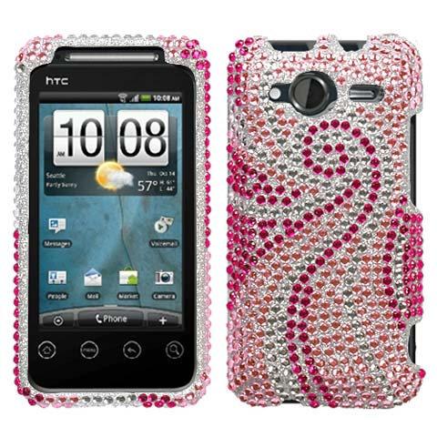 Pink Swirl Crystal Rhinestones Bling Case for HTC EVO Shift 4G