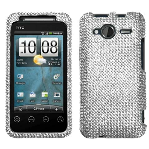 Silver Crystal Rhinestones Bling Case for HTC EVO Shift 4G