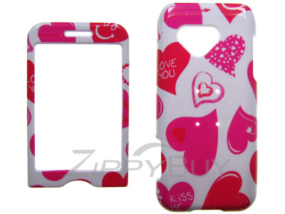 HTC G1 Hard Cover Case - White w/ Hearts