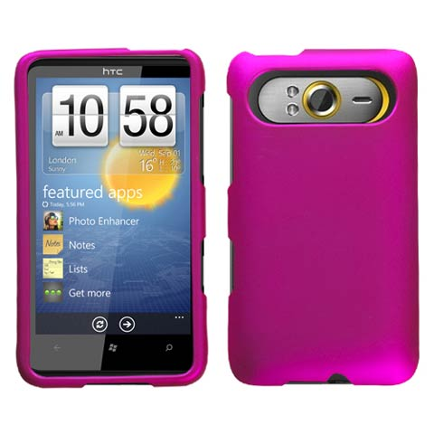 Hot Pink Rubberized Hard Case for HTC HD7